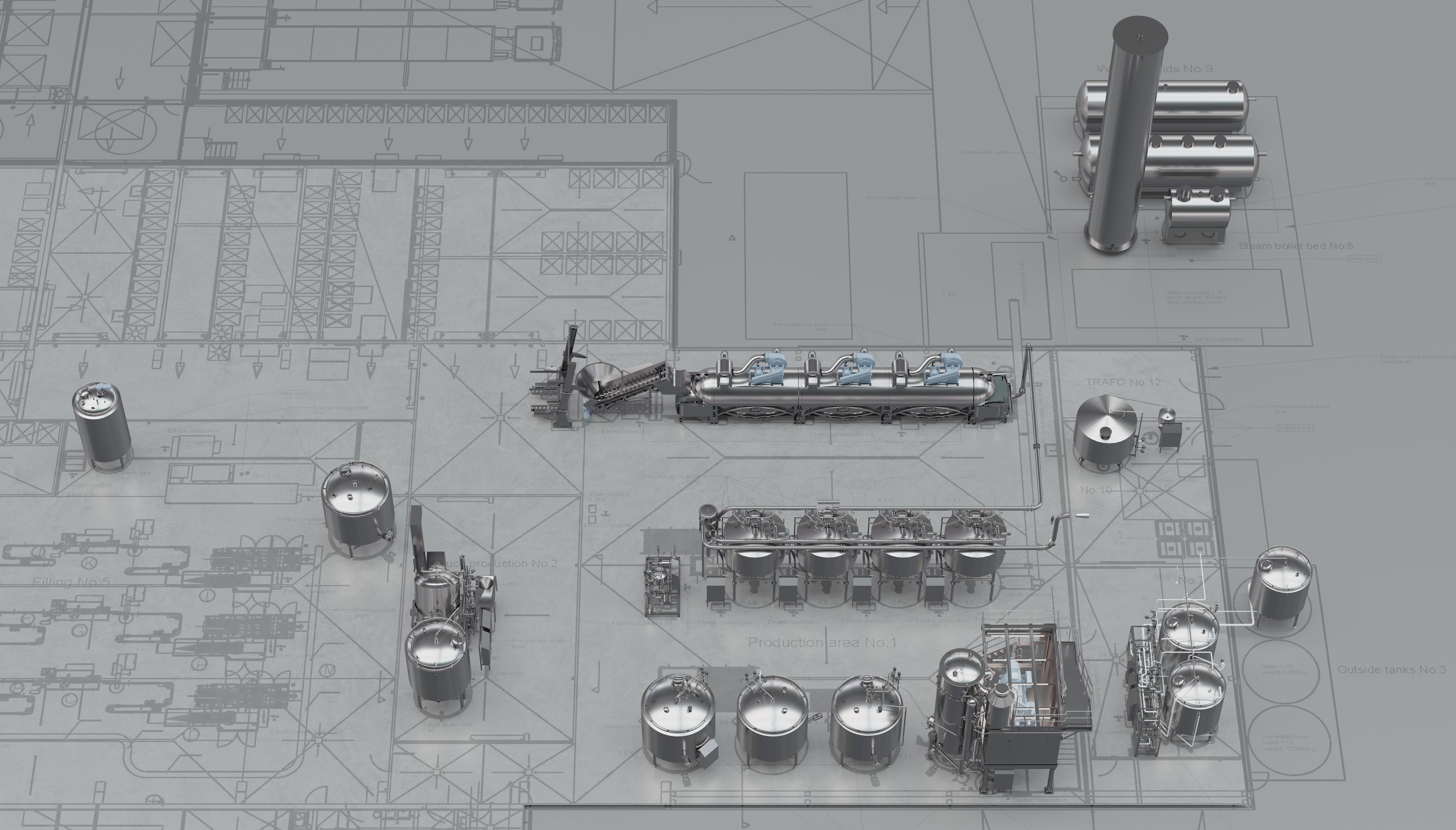 Coctio luuliemien, kastikkeiden ja keittojen tuotantolinjastot ja -tehtaat elintarviketeollisuudelle