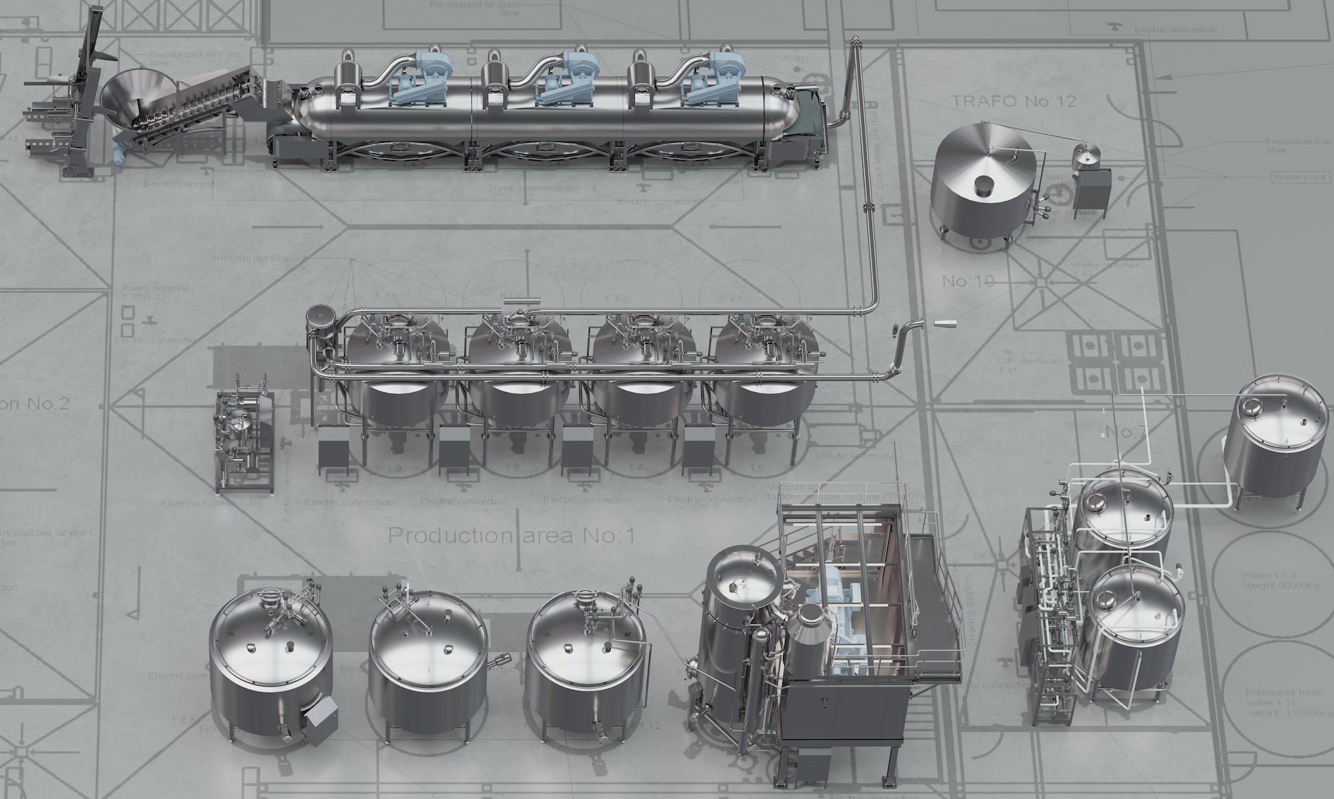 Coctio large volume production line for high-quality natural bone broth, sauce and soup production